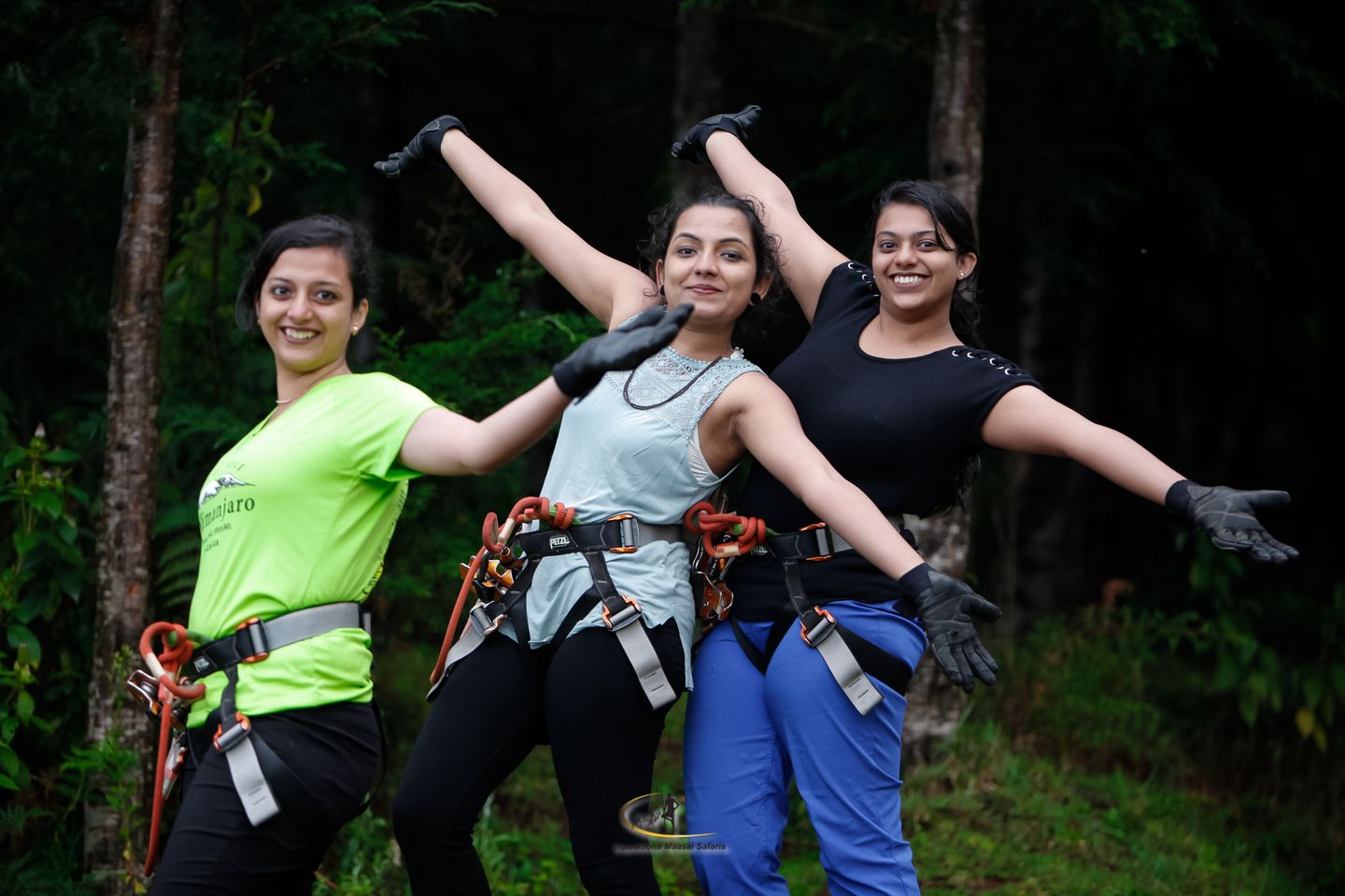 Expeditions ladies ready to zipline at Kereita Kenya